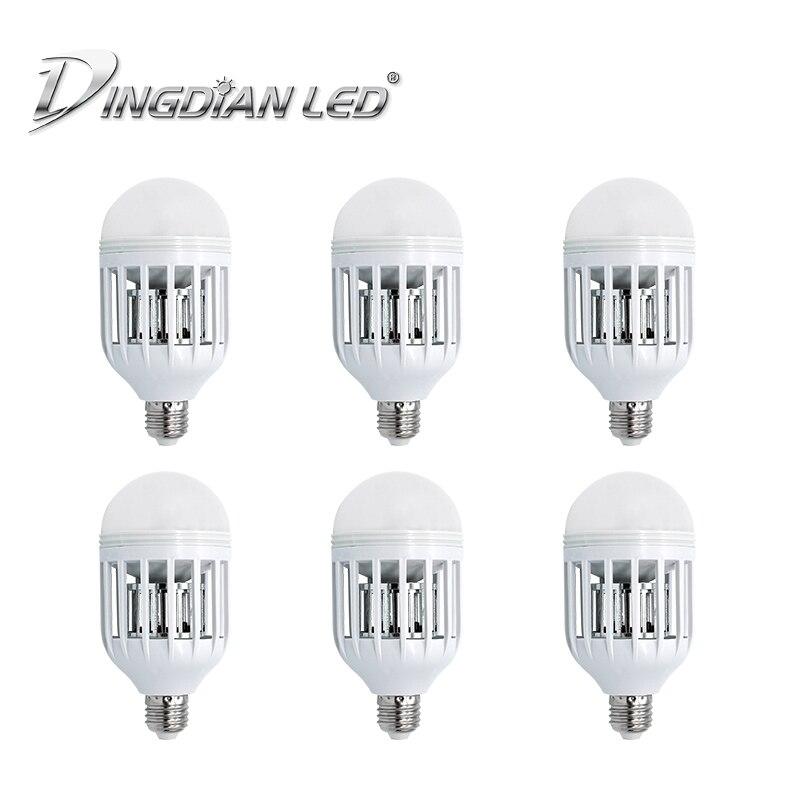 6 pcs e27 led 전구 전자 모기 킬러 램프 15 w 220 v 실내 야간 조명 곤충 모기 repeller 버그 zapper 라이트 침실, 1개, changeable