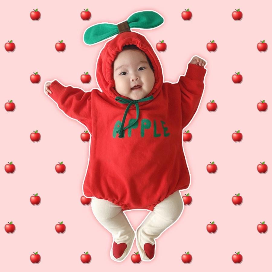 겨울 기모 과일 바디슈트 우주복 신생아 아기 100일 돌선물 촬영