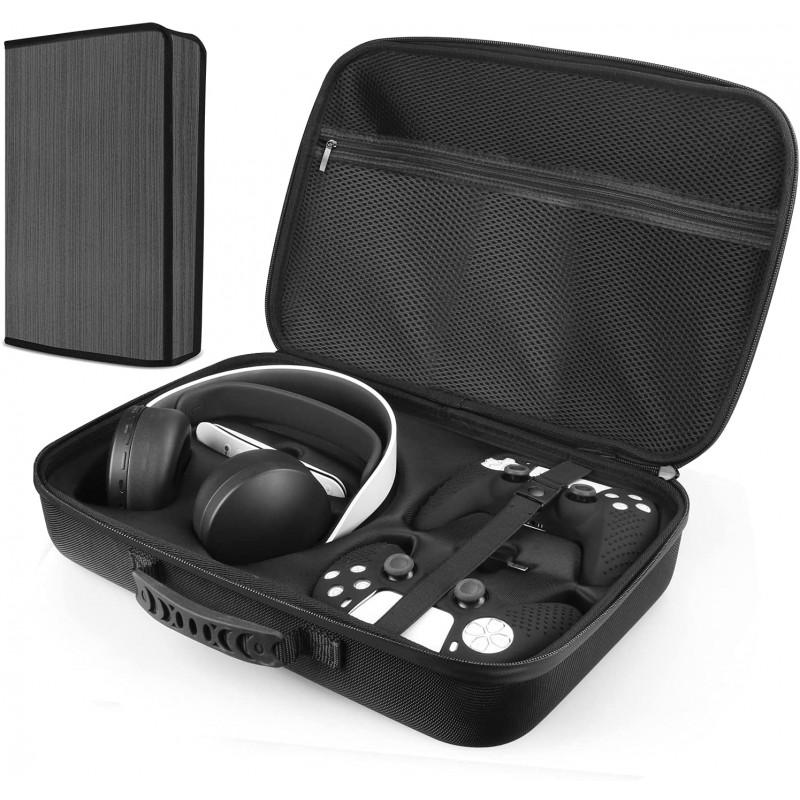일본배송 Esimen올인원 가방에 적용하는 PS5헤드셋/PULSE3D이어폰 세트와 2개의 콘트롤러 포함 PS5더스, 단일옵션, 단일옵션