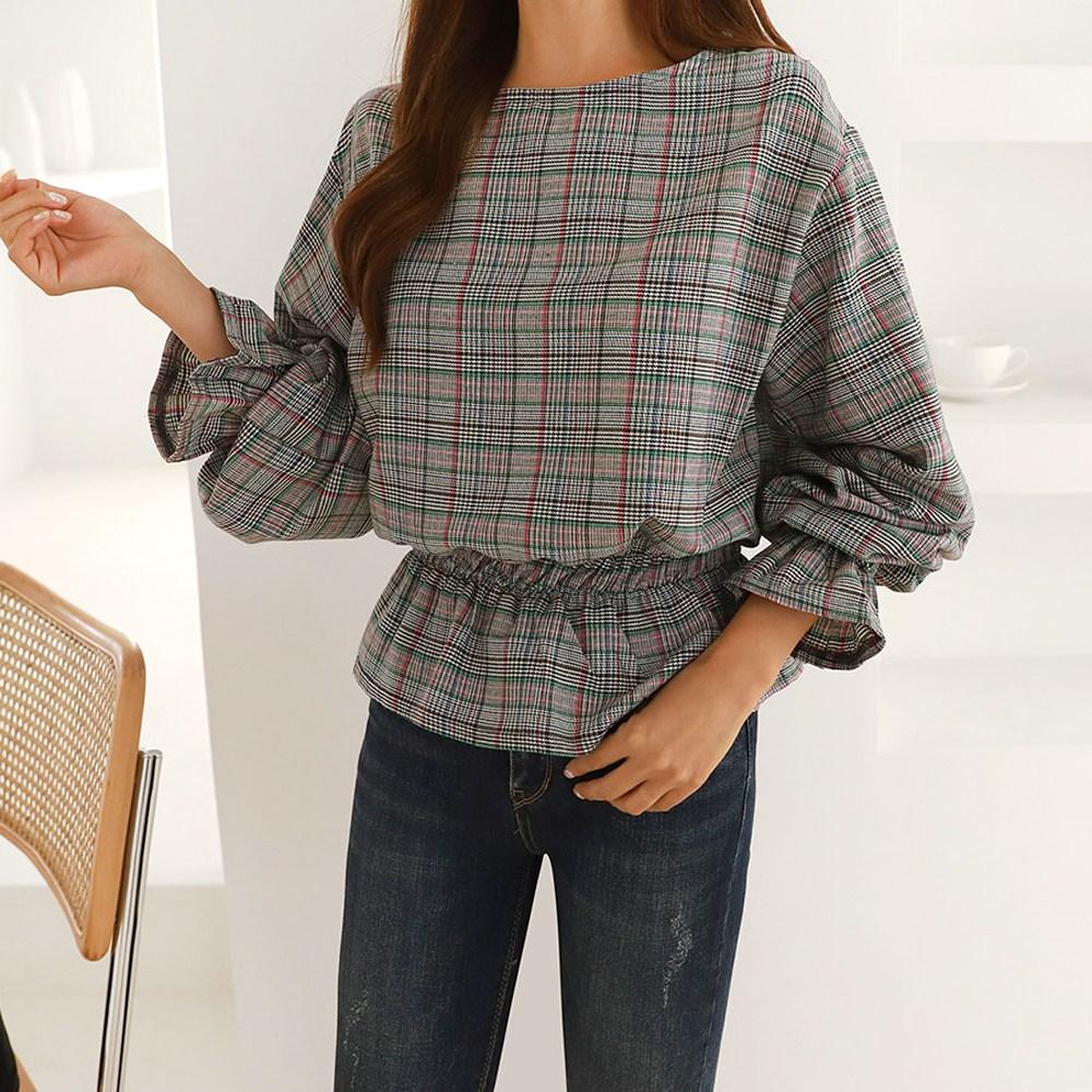 여성 가을 체크 프릴 셔링 쉬폰 블라우스 여자 셔츠 30대 40대 오피스룩
