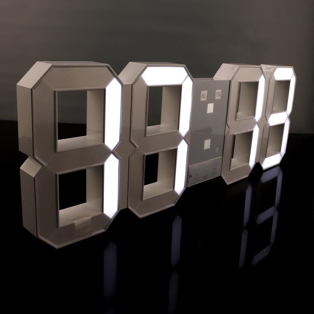 아이프리 무소음 3D LED 벽시계 45cm, 화이트