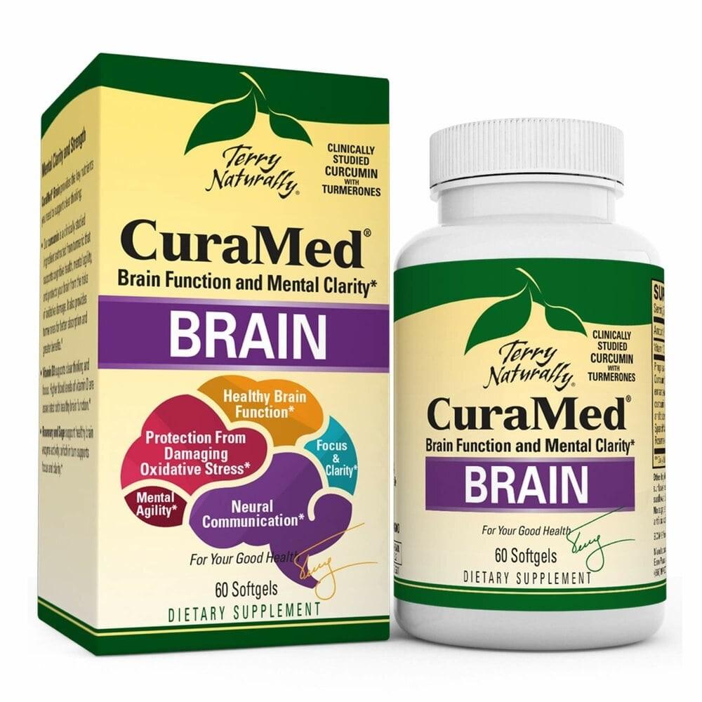 Terry Naturally Curamed Brain 테라 내츄럴리 테리 브레인 강황 커큐민 비타민 D 함유 60정 30회분, 1개, 1