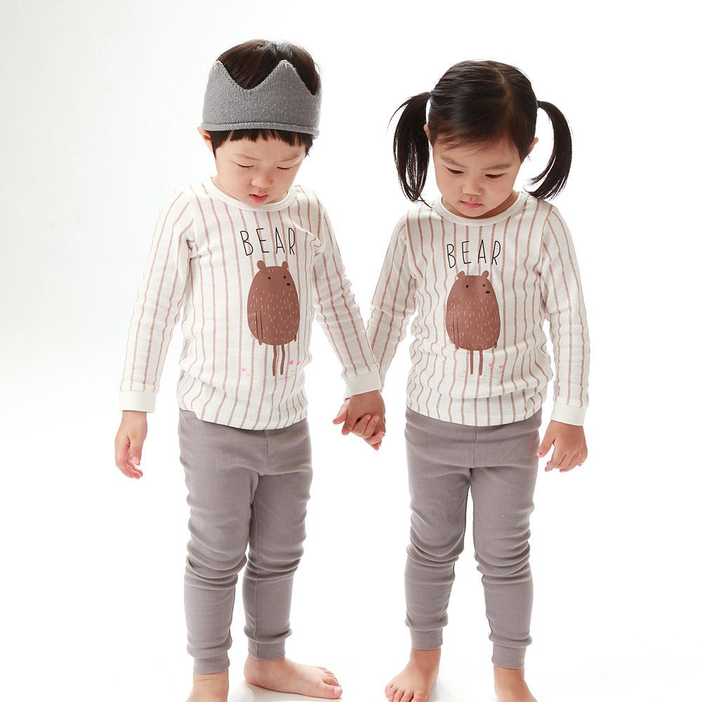 올챙이 베어 봄가을용 30수 유아 아동 주니어용 무형광내의 실내복 상하세트 공용 내복
