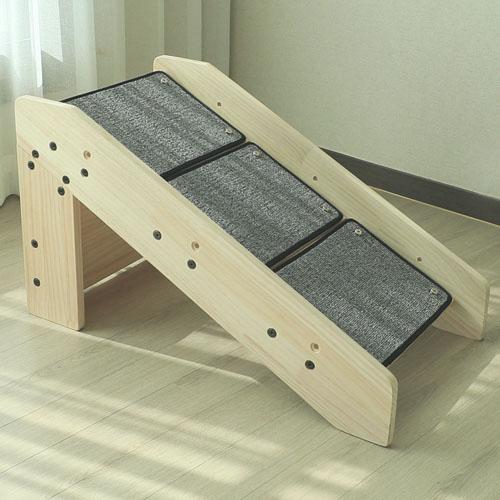 캣츠빌 원목 논슬립 강아지 계단 심플형 슬라이드 스텝 2IN1 고무나무, 4단, 선택안함