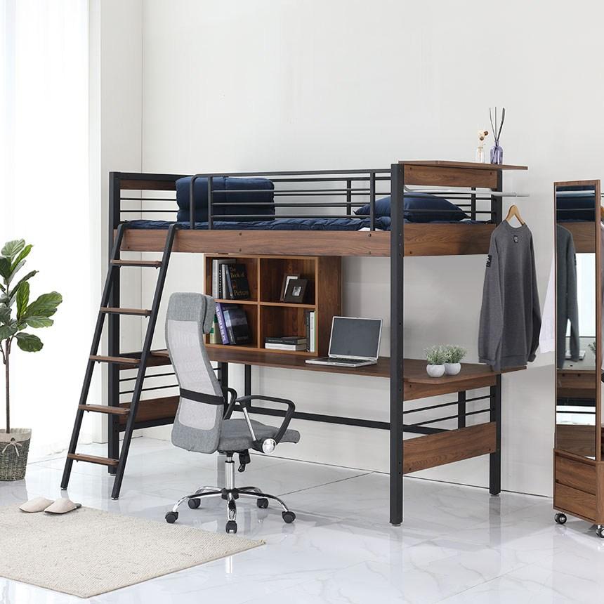오키멧 북카페W 책상 침대 (싱글 수퍼싱글), 블랙(매트제외)