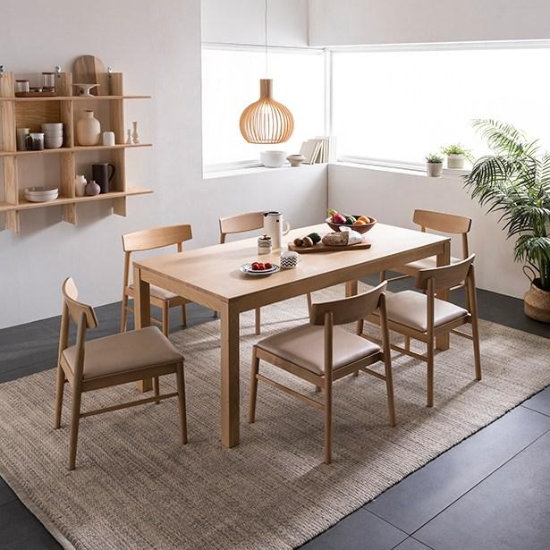 리바트온라인 뉴빈센트 애쉬 6인 원목식탁세트 의자형, 빗살의자형(내추럴)