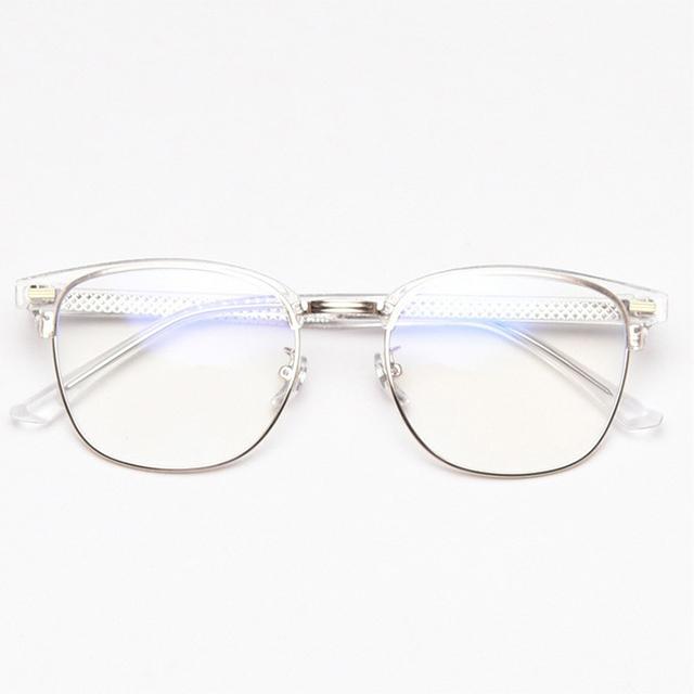빅사이즈 남자 투명 하금테 안경테 블루라이트 차단 안경 98318