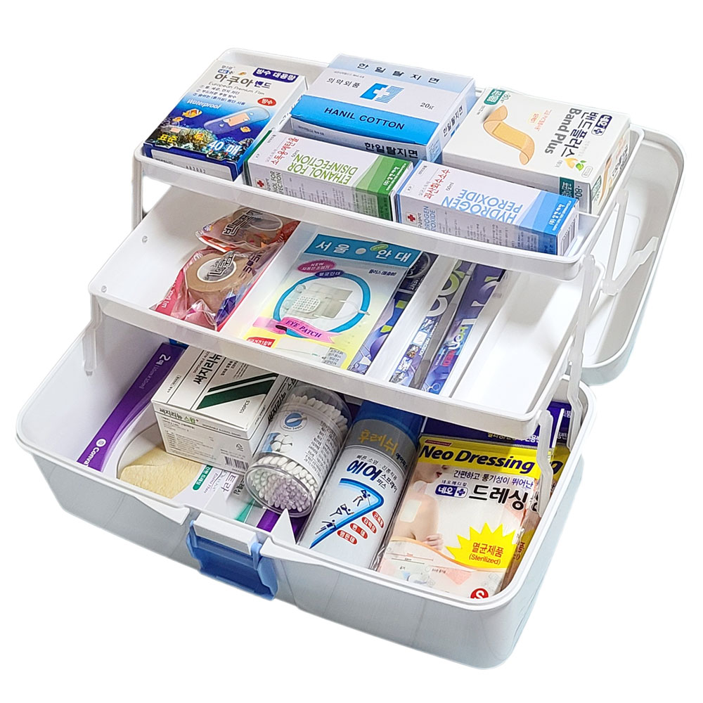 한양 스피드 구급함 대형 세트 1개 약통 구급상자 가정용 비상약품 (POP 4946081103)
