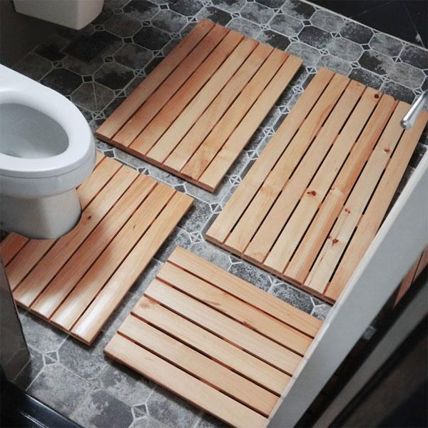 cocooning 오염에 강한 완벽방수 미끄럼방지 현관문 화장실 원목발판, 1Ea, 욕실용(변기형)