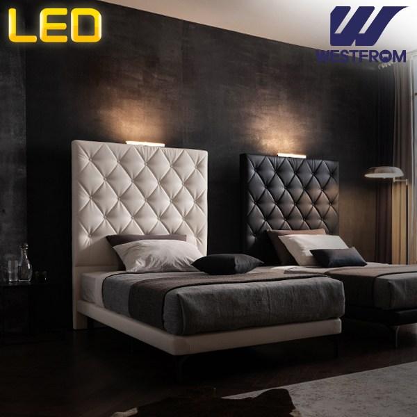 웨스트프롬 모던 브르노 스위트룸 레더 투매트리스 침대(LED센서등 2ea증정), 블랙