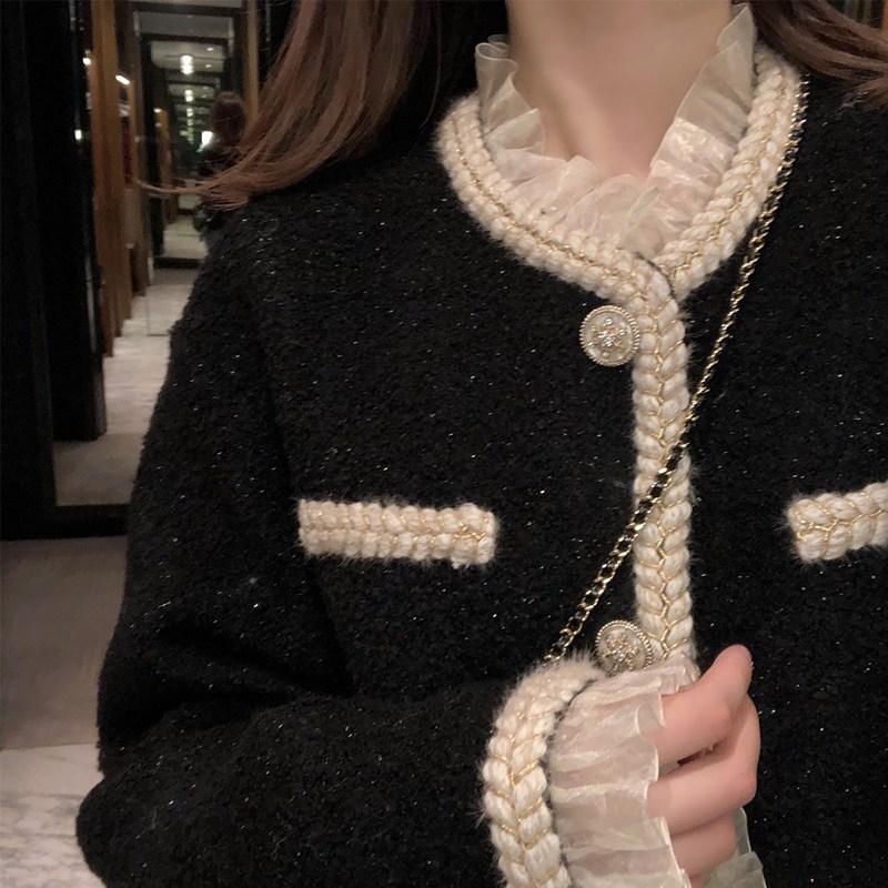 해외 또비샵h 트위드자켓 기질 연예인 스타일 Xiaoxiang 짧은 재킷 숙녀 2020 새로운 가을과 겨울 모든 경기 느슨한-11049
