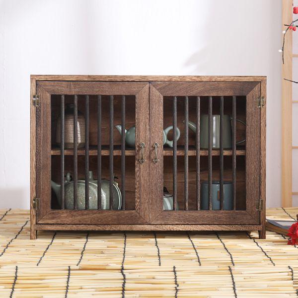 미니그릇장 2단 옛날 찬장 원목 빈티지 창살 그릇장 다기장 그릇장식장 찻장 카페장, A