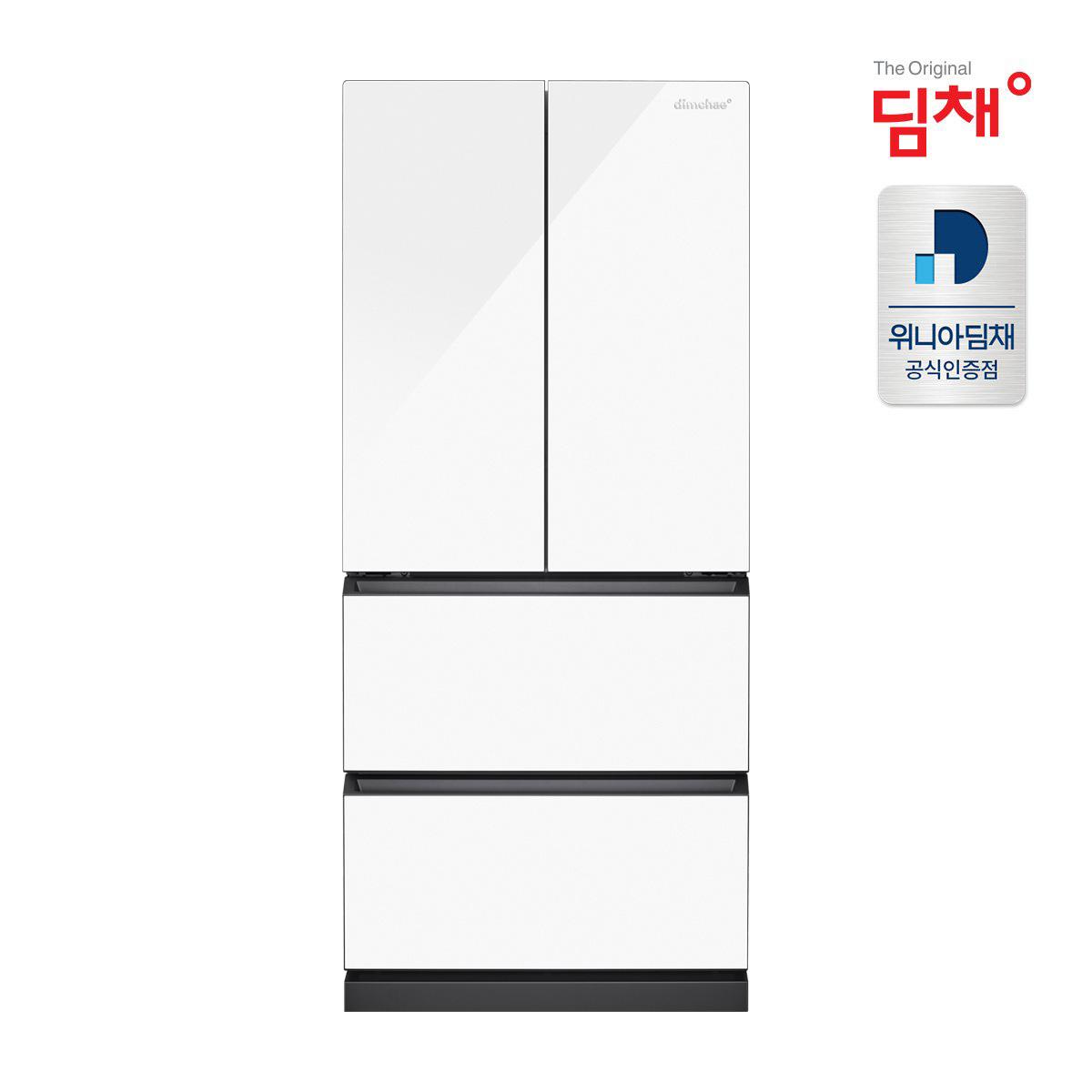 21년형 딤채 스탠드형 화이트 김치냉장고 EDQ47EFPYWT 457L 강화유리