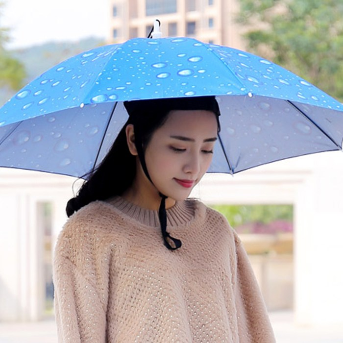 갓샵 핵인싸템! 머리에쓰는 우산 모자 핸즈프리 [낚시 파라솔 햇빛가리개 쓸데없는선물]