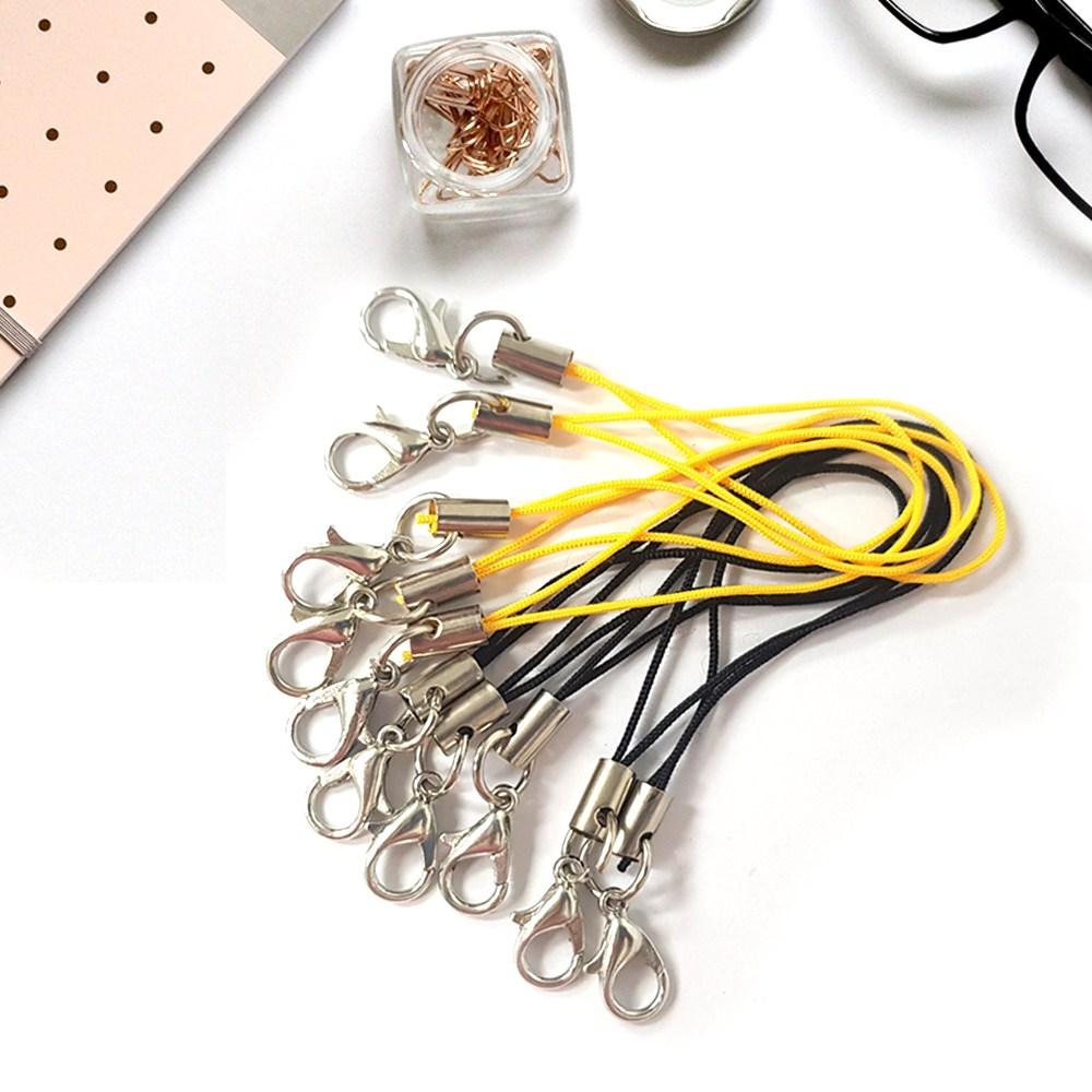 핸드폰 핸드폰줄 고리 링 줄 분실방지 스트랩 부자재 DIY 대량구매 (100개), 01_블랙(100개)