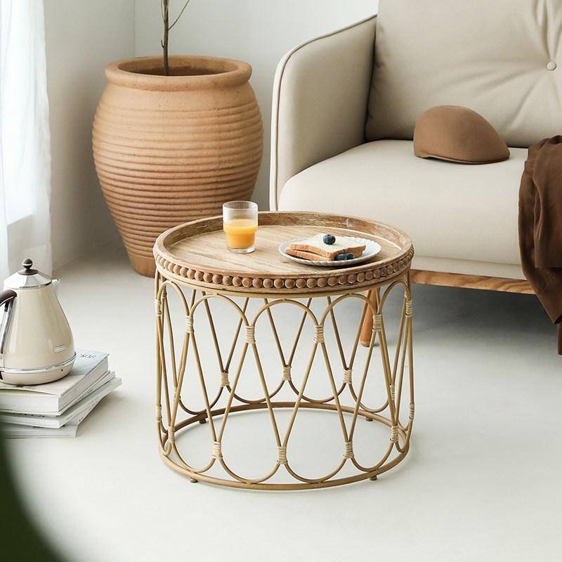 라탄테이블 사이드 티 테이블 홈 거실 인테리어, 우드 컬러