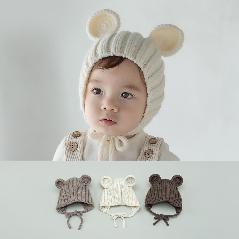 [해피프린스]누보 망스 베어 니트 아기 모자