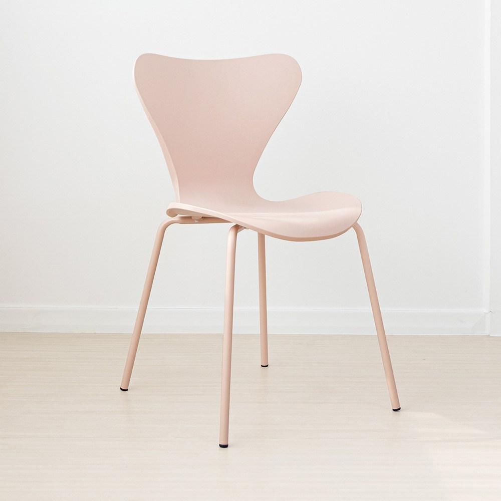 라로퍼니처 웨이브 체어 북유럽스타일 철제 카페 인테리어 의자 인테리어의자, 핑크