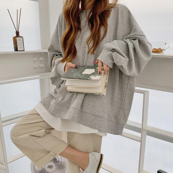메리바움 108575 애니모어 박스 오버핏 맨투맨 여성 가을 빅사이즈 티셔츠 긴팔