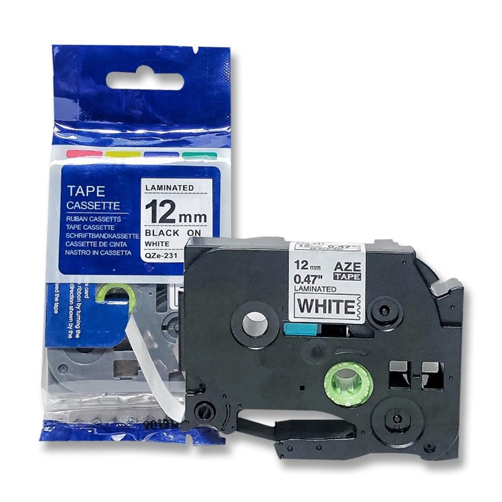 브라더 호환 라벨테이프 6mm~24mm, 12mm검정바탕_흰색글자 AZc-335
