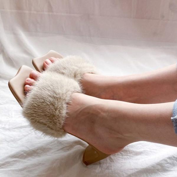 티나슈 밍크 뮬샌들 5.5cm