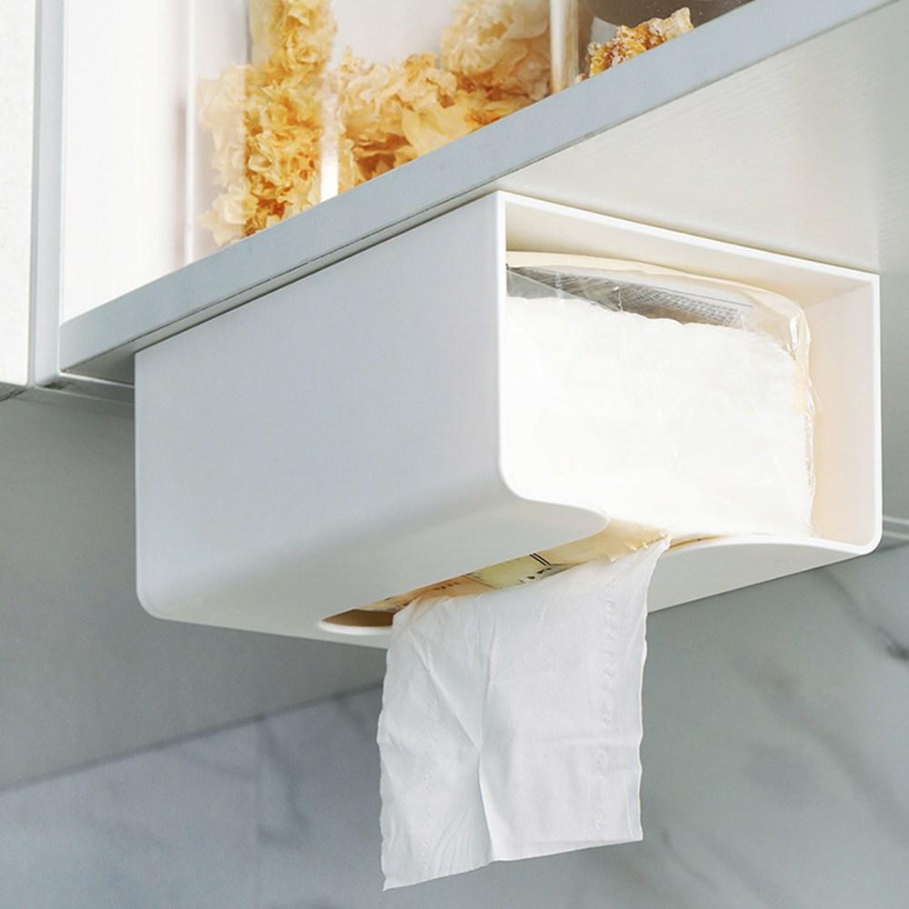 공간절약 주방 욕실 다용도 벽 부착 티슈 케이스, 1개, 회색