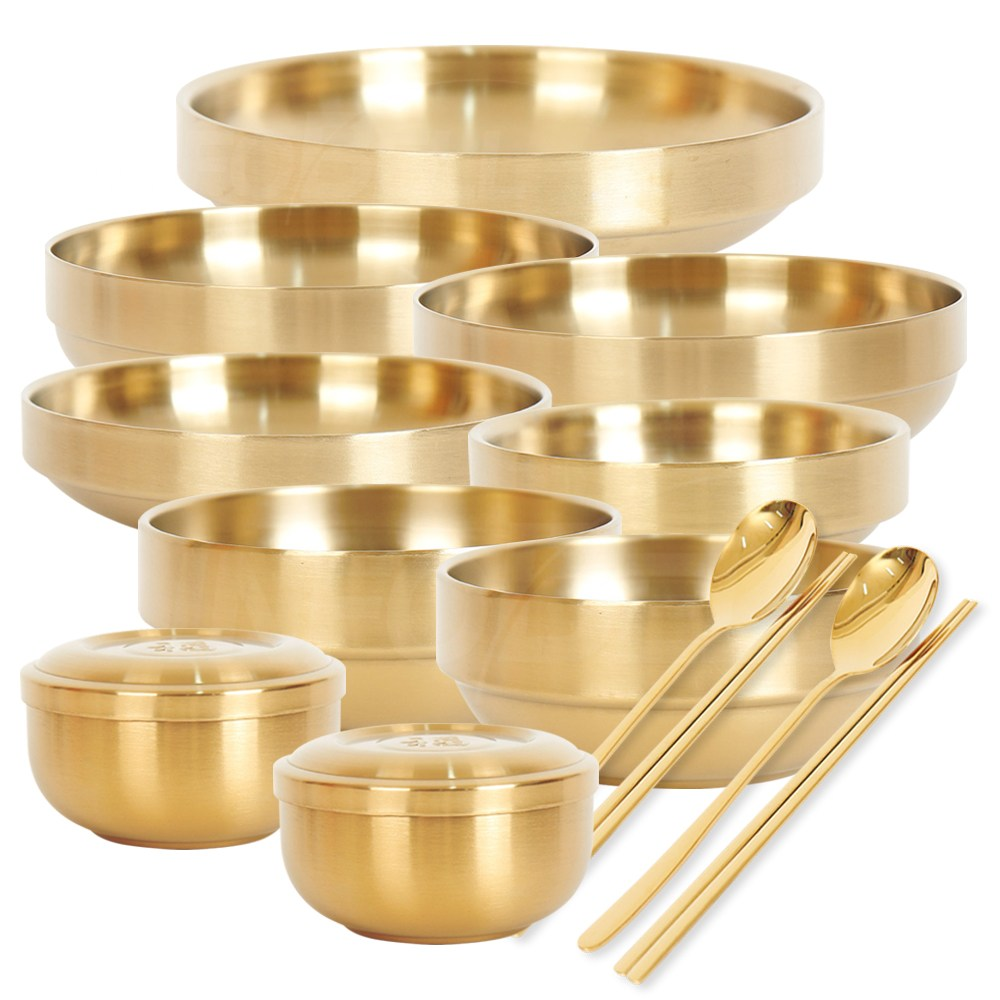보온 보냉까지 가능한 전통궁중반상기 유기 그릇 세트+수저 1인 2인 풀세트, 01_1인 기본세트