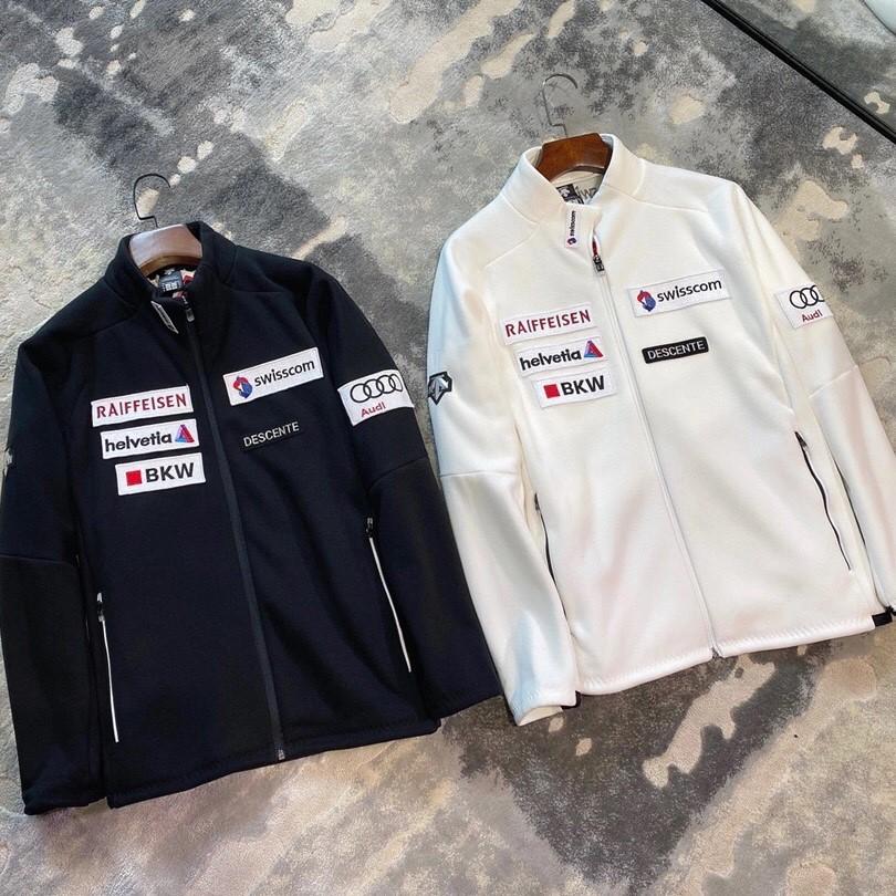 남여공용 데상트 아우디 스위스 레플리카 스탠드넥 플리스 커플 양털 후리스 집업 자켓