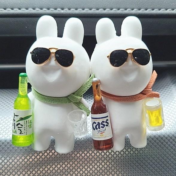 힐링센트 술 취한 토끼 차량용방향제 세트 레몬라벤더향