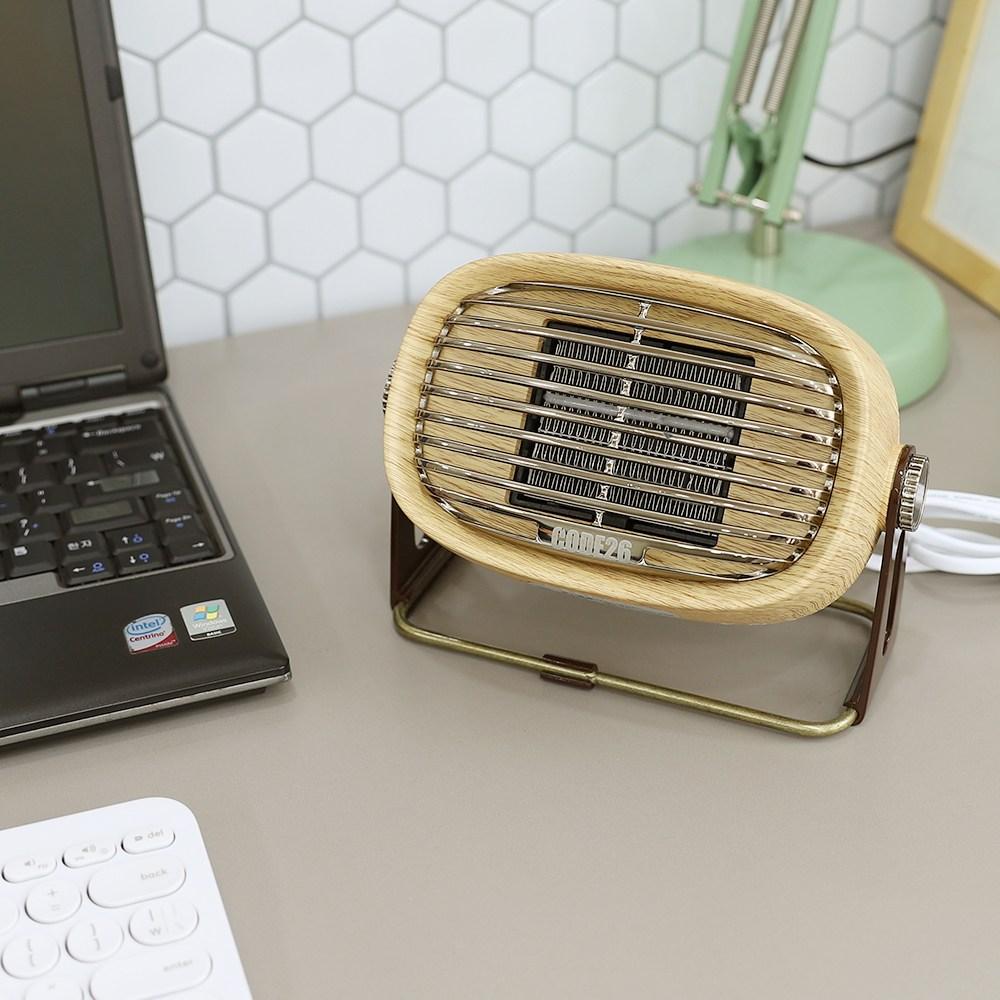 캠핑 사무실 PTC 미니온풍기 팬히터 500W, CODE-PTCF500, WOOD