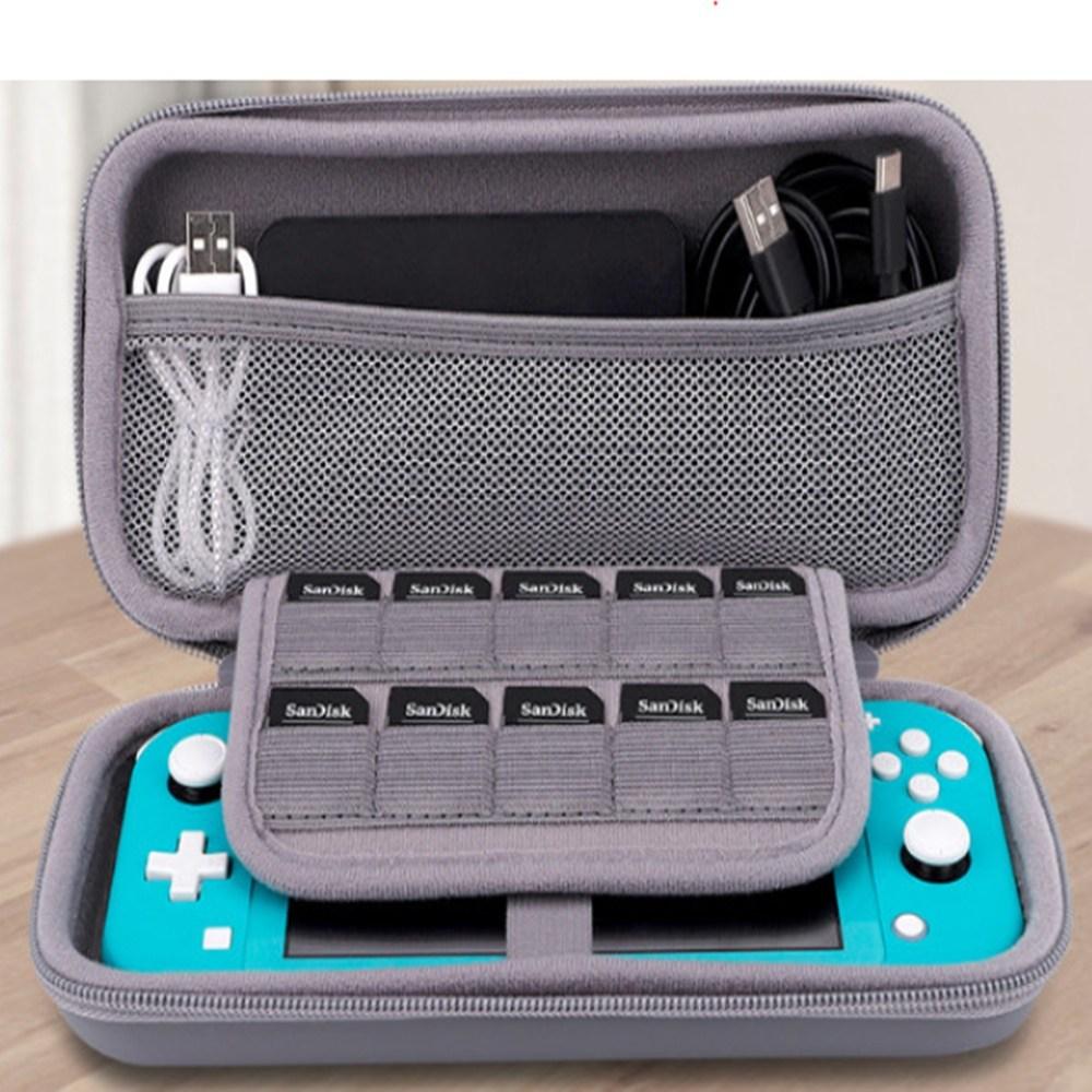 닌텐도 스위치라이트전용 EVA 하드케이스 파우치 악세사리보관가방, 1개, 가방끈타입-블랙