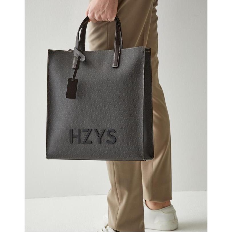 헤지스 악세서리 남성 20FW [HARIATO] 블랙 H 시그니처 패턴 PVC 토트백 HJBA0F081BK