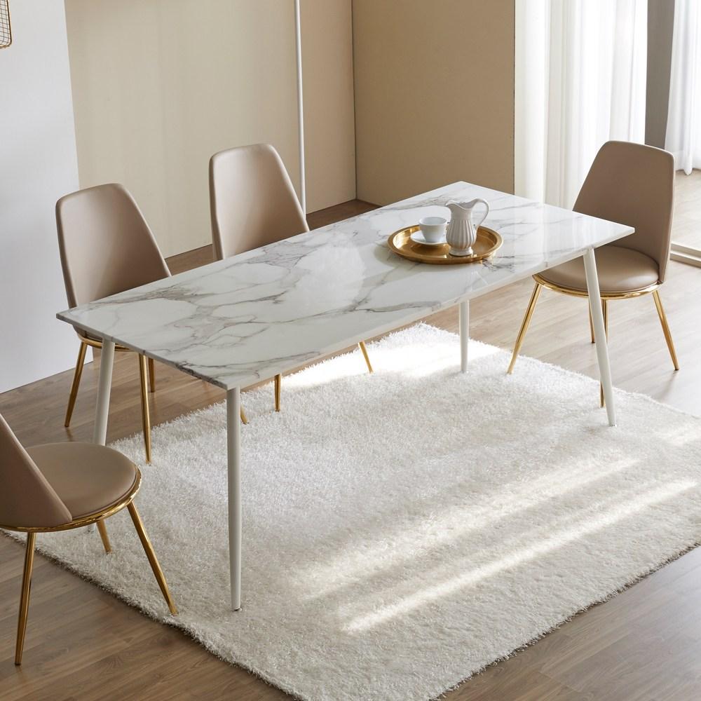 티에스퍼니처 베일리 대리석식탁 골드 화이트 블랙4인 6인 식탁 테이블 식탁/입식테이블, 화이트1400:마블 대리석
