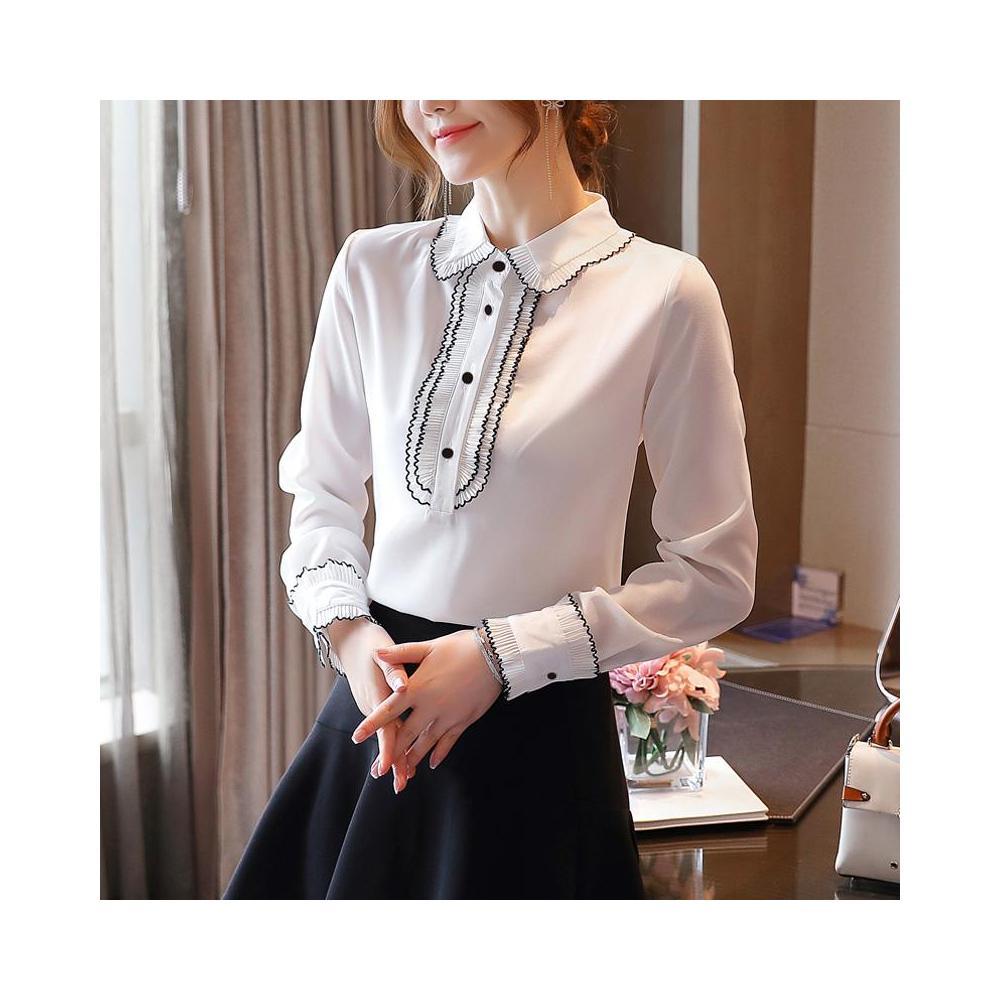 알지구 썸머 블라우스 실제 촬영 외국 스타일 가을 새로운 여성 인형 칼라 흰색 쉬폰 셔츠 카디건 바닥