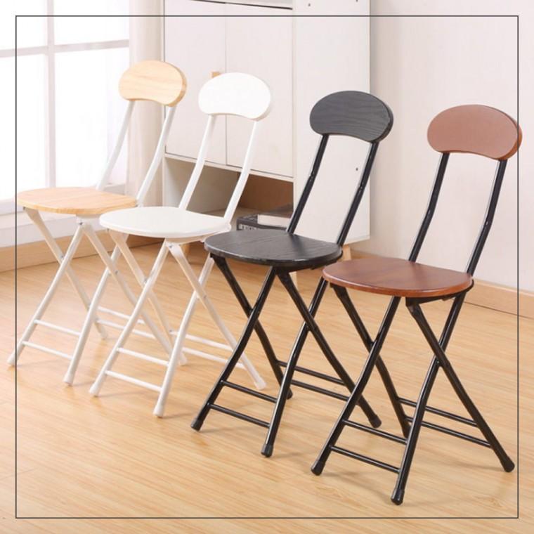 접이식 의자 보조 간이 등받이 사무용 가정용 카페 화장대 모던 인테리어, 00화이트우드