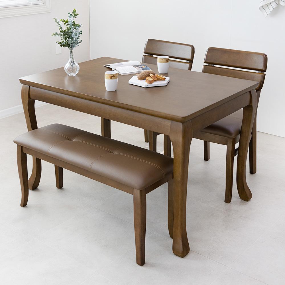 라로퍼니처 프렌치 앤틱 원목 4인용 식탁 세트(테이블+의자2+벤치1) 식탁세트, 단품