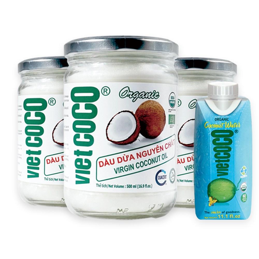 유기농 코코넛오일 버진 100% 비엣코코 3병 코코넛워터 1팩, 500ml