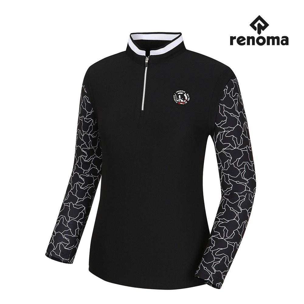 [레노마골프]여성 소매 패턴 배색 반집업 긴팔 티셔츠 RWTPH7112-199_G, BLACK