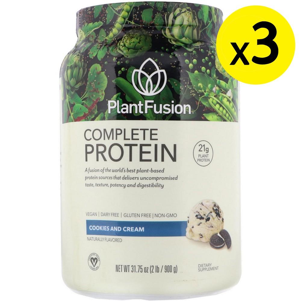 [미국직구]PlantFusion 컴플리트 프로틴 쿠키 앤 크림 900g(2lb) 3개, 선택, 상세설명참조