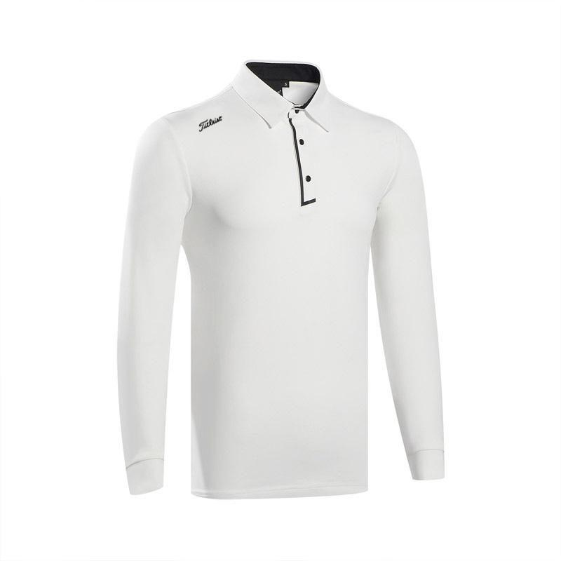 타이틀리스트 남성 골프 통기성 폴로 긴팔 골프웨어 GMT20, 하얀