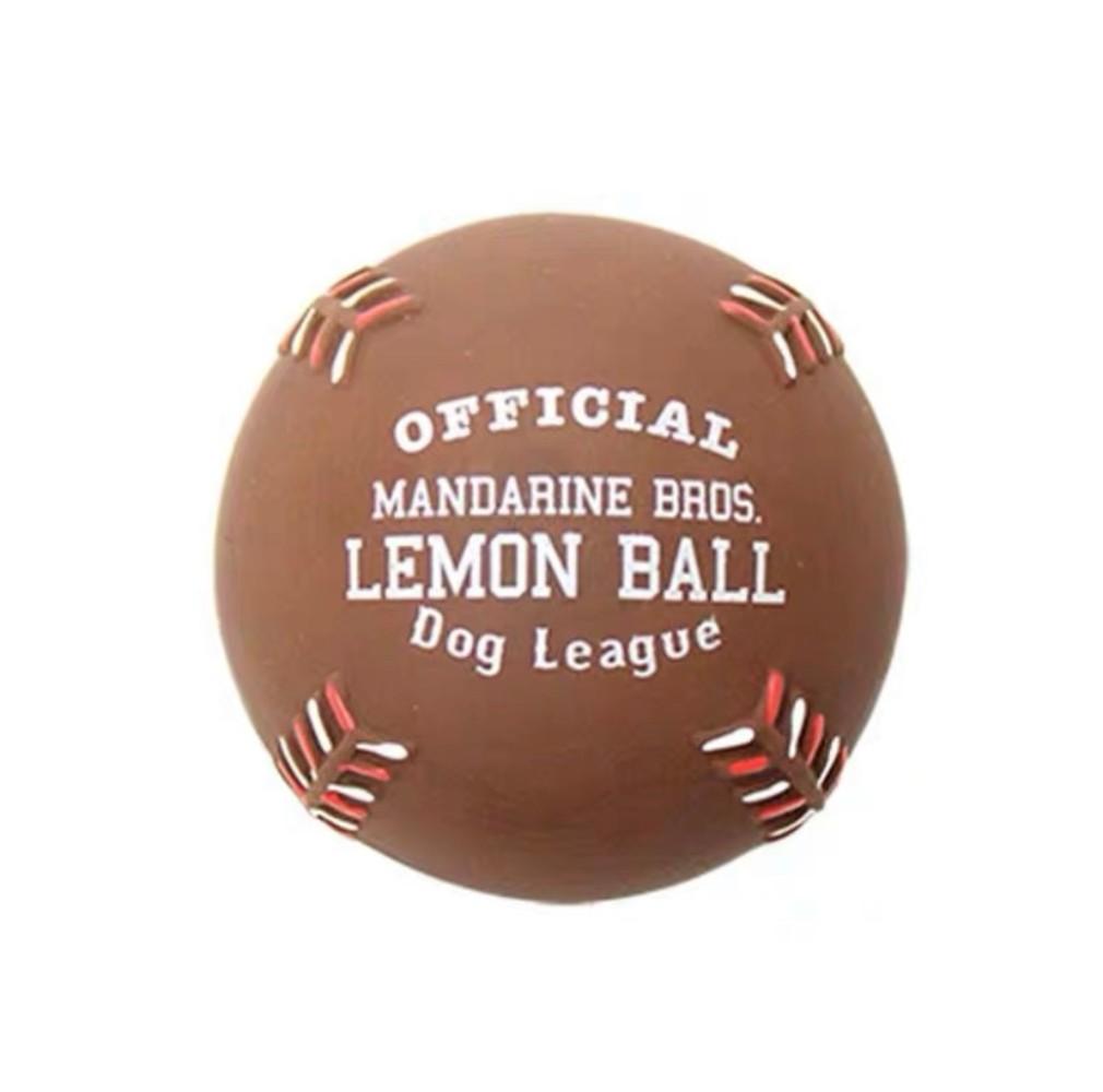 애완견 소형견 중형견 탄성 볼 강아지 장난감, 1개, 레몬 베이스볼 브라운