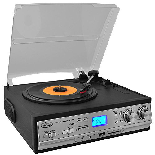 Updated Version Pyle Retro Turntable with Speakers Wireless Record Player Record Player Convert Vinyl to Mp3 Cassette Player Aux w/ FM/AM Radio U