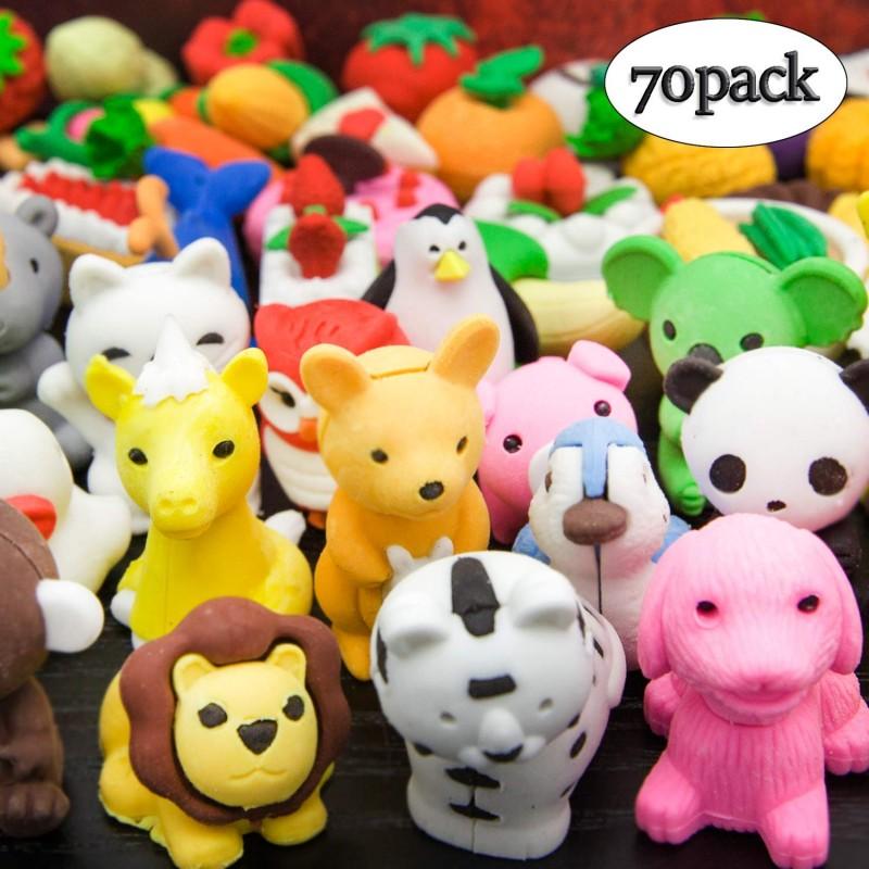 LanMa 70 개 동물 연필 지우개 퍼즐 식품 지우개 아이 교실 상 파티 선물 귀여운 지우개 세트, 단일상품