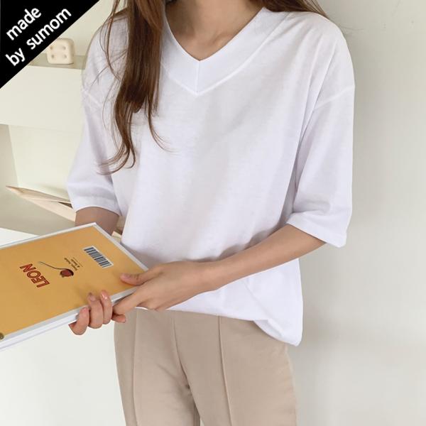 수맘 자체제작 봄 여름 브이넥 20수 티셔츠 반팔