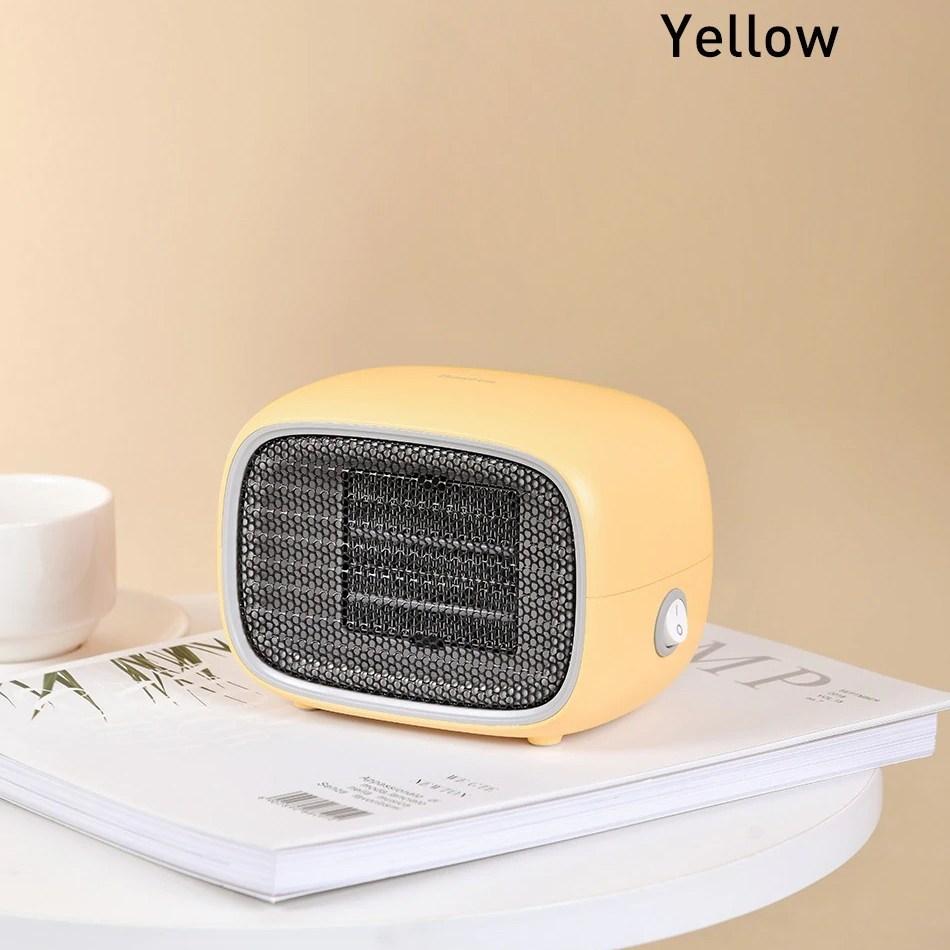 미니 전기 히터 온풍기 500W 가정용 사무실 캠핑 스토브, 옐로우