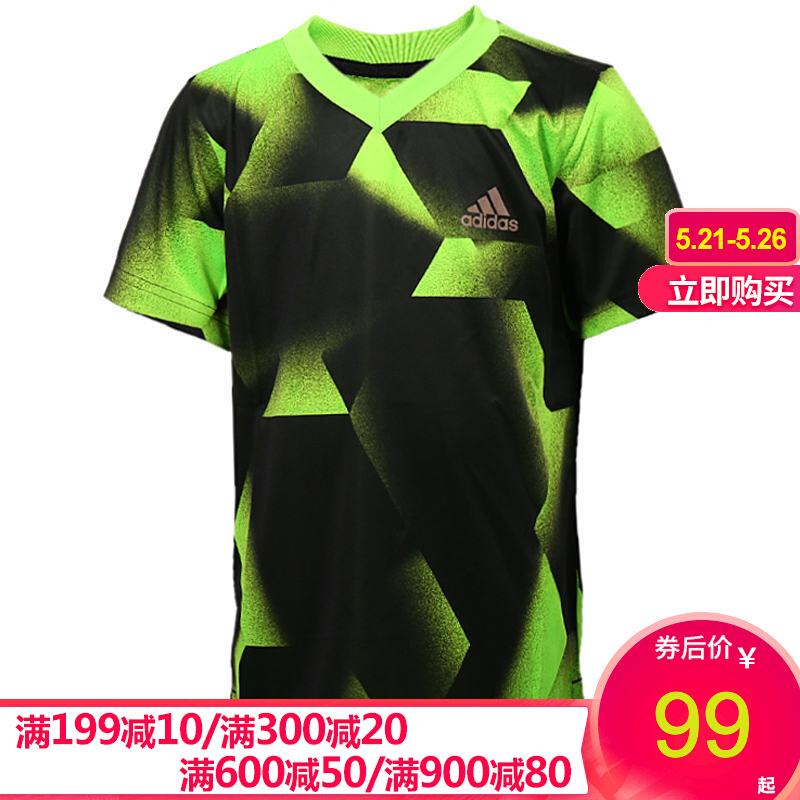 아 디 다스 아 디 다스 보이 이 즈 티셔츠 2020 봄 여름 트 레이 닝 복 달리기 훈련 헬 스 편안 한 통기 V 넥 모직 반팔 BJ8438 BJ 8438 A128