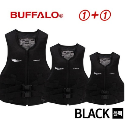 1+1 버팔로 정품 구명조끼(블랙)/라이프자켓, 버팔로 올블랙