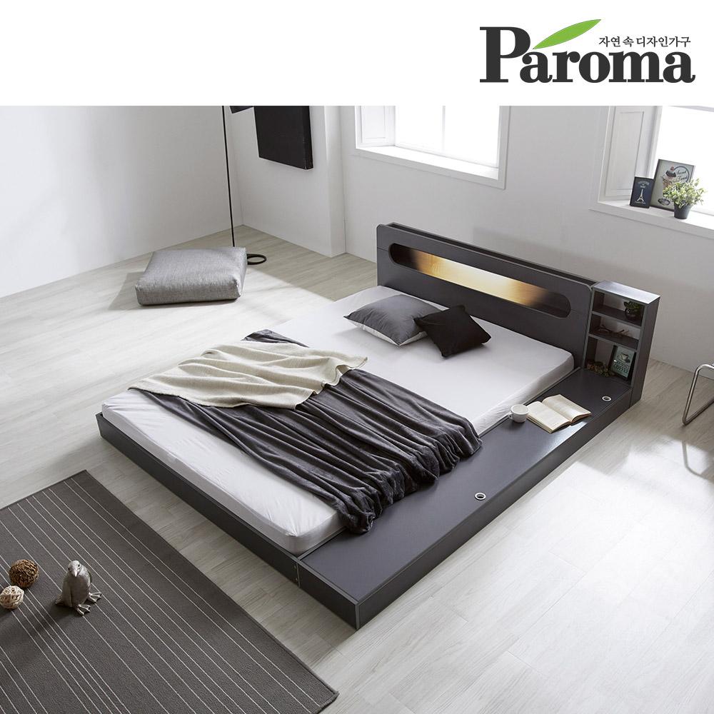파로마 에반 LED 저상형 침대/수납형 슈퍼싱글(SS)_독립매트, 오크