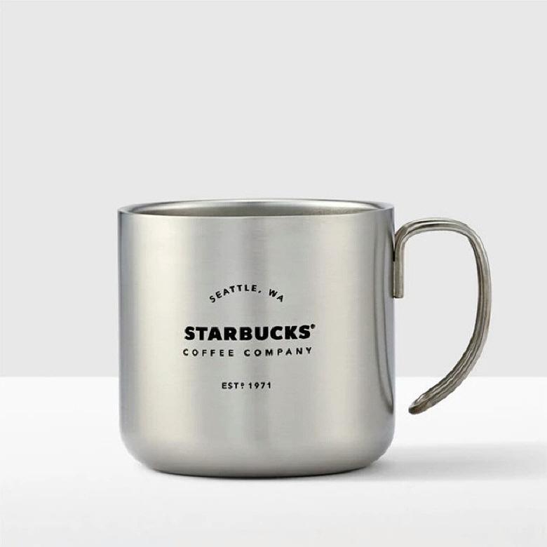 starbucks 스타벅스 컵 레트로 스테인레스 스틸 머그컵 355ml, 화이트