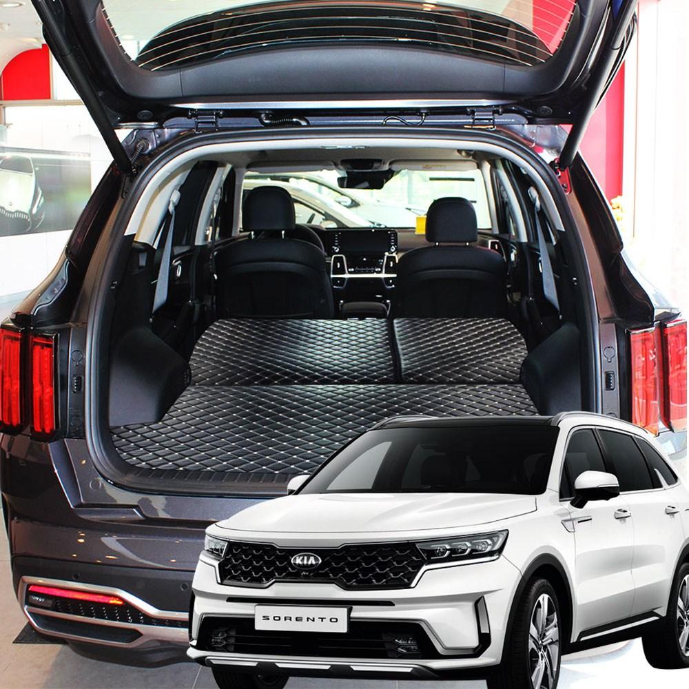 로얄상사 쏘렌토 MQ4 5인승전용 퀼팅가죽4D 트렁크매트+뒷열커버 차박매트 풀셋트, 쏘렌토MQ4(5인승), 블랙